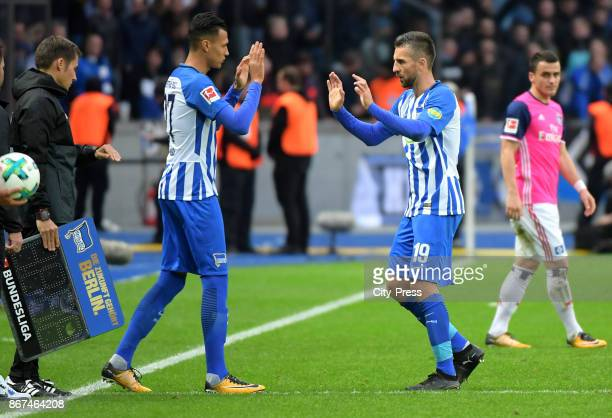 Davie Selke and Vedad Ibisevic of Hertha BSC during the game between Hertha BSC and Hamburger SV on October 28 2017 in Berlin Germany