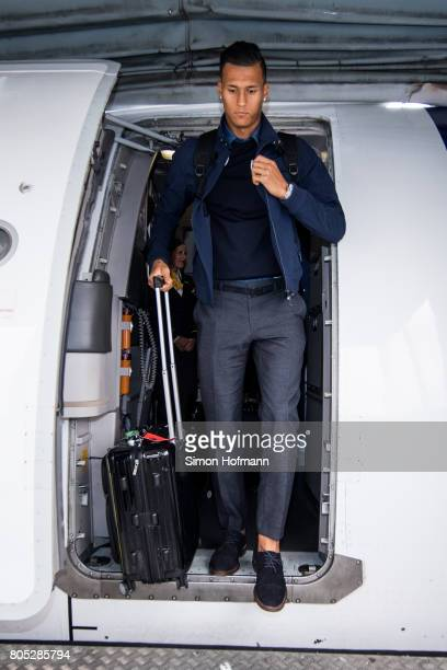 Davie Selke departs the plane carrying the Germany U21 National Team arrives at Frankfurt International Airport on July 1 2017 in Frankfurt am Main...