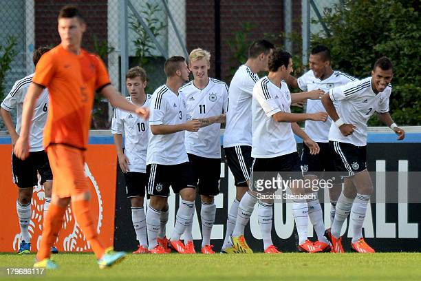 Davie Selke from Germany celebrates scoring the opening goal with team mates during the U19 international friendly match between The Netherlands and...