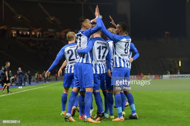 Davie Selke Maximilian Mittelstaedt and Salomon Kalou of Hertha BSC celebrate after scoring the 10 during the game between Hertha BSC and Zorya...