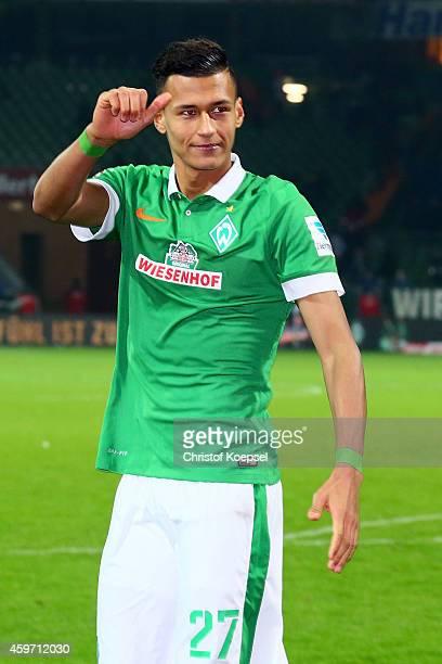 Davie Selke of Bremen celebrate after the Bundesliga match between Werder Bremen and SC Paderborn at Weserstadion on November 29 2014 in Bremen...