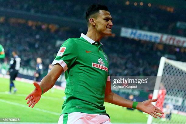 Davie Selke of Bremen celebrates the second goal during the Bundesliga match between Werder Bremen and SC Paderborn at Weserstadion on November 29...