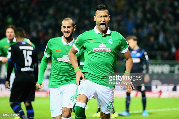 Davie Selke of Bremen celebrates the second goal with Alejandro Galvez of Bremen during the Bundesliga match between Werder Bremen and SC Paderborn...