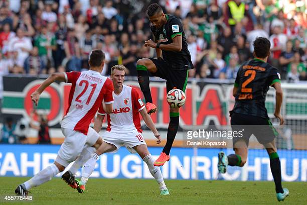 Davie Selke of Bremen controls the ball during the Bundesliga match between FC Augsburg and SV Werder Bremen at SGL Arena on September 20 2014 in...
