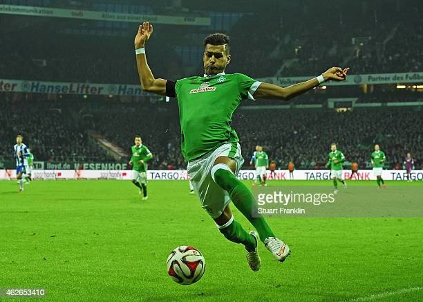 Davie Selke of Bremen in action during the Bundesliga match between SV Werder Bremen and Hertha BSC at Weserstadion on February 1 2015 in Bremen...