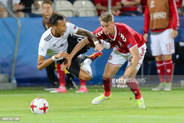 Davie Selke of Germany and Andreas Maxso of Denmark battle for the ball during the UEFA European Under21 Championship Group C match between Germany...