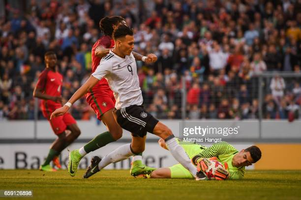 Davie Selke of Germany and Joel Pereira goal keeper of Portugal battle for the ball during the U21 International Friendly match between Germany U21...