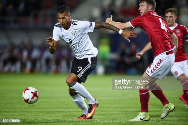 Davie Selke of Germany and Patrick Banggaard of Denmark during their UEFA Under21 Championship Group C match between Germany and Denmark at Krakow...