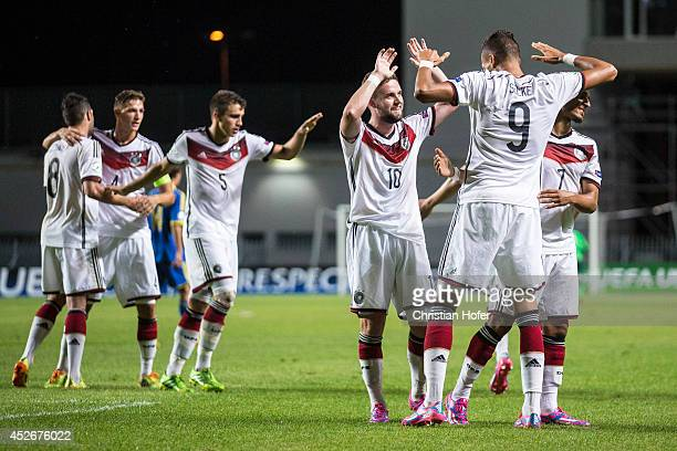 Davie Selke of Germany and teammates celebrate after scoring during the UEFA Under19 European Championship match between U19 Germany and U19 Ukraine...