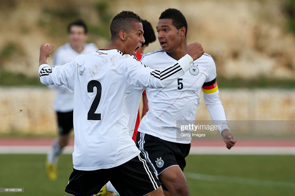 Davie Selke of Germany celebrates a goal during the Under17 Algarve Youth Cup match between U17 Portugal and U17 Germany at the Stadium Bela Vista on February 12, 2013 in Parchal, Portugal.