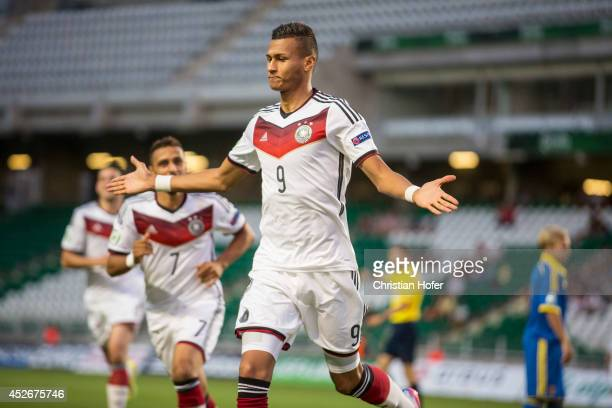 Davie Selke of Germany celebrates after scoring during the UEFA Under19 European Championship match between U19 Germany and U19 Ukraine at ETOPark on...