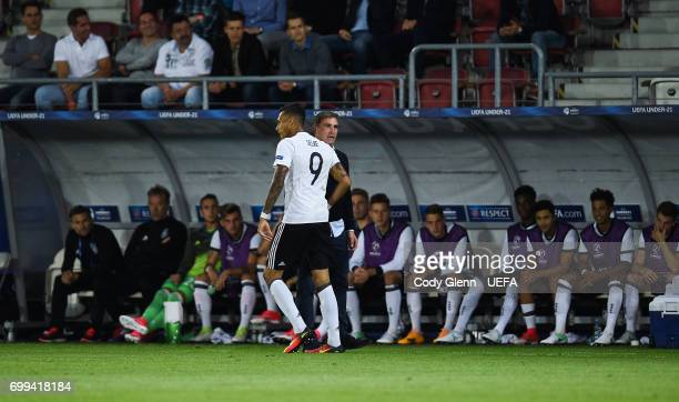 Davie Selke of Germany celebrates after scoring his side's first goal during their UEFA European Under21 Championship 2017 match on June 21 2017 in...