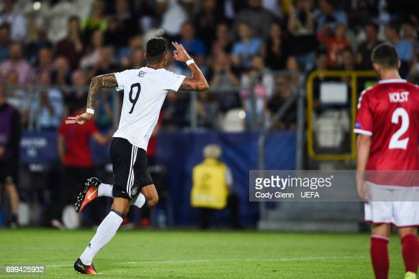 Davie Selke of Germany celebrates after scoring his side's first goal during their UEFA Under21 Championship Group C match between Germany and...