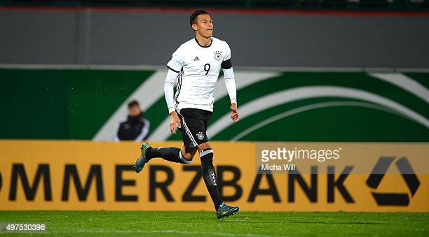 Davie Selke of Germany celebrates after scoring his team's third goal during the 2017 UEFA European U21 Championships Qualifier between U21 Germany...