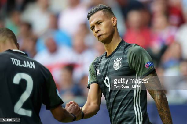 Davie Selke of Germany celebrates scoring his sides first goal with Jeremy Toljan of Germany during the UEFA European Under21 Championship Semi Final...