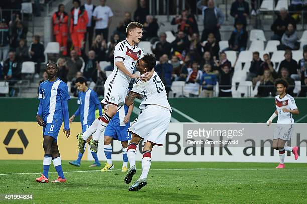 Davie Selke of Germany celebrates with team mate Joshua Kimmich as he scores the second goal during the 2017 UEFA European U21 Championships...