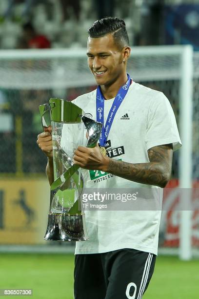 Davie Selke of Germany celebrates with the trophy after the UEFA U21 Final match between Germany and Spain at Krakow Stadium on June 30 2017 in...