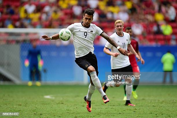 Davie Selke of Germany controls the ball against Portugal in the first half during the Men's Football Quarterfinal match on Day 8 of the Rio 2016...
