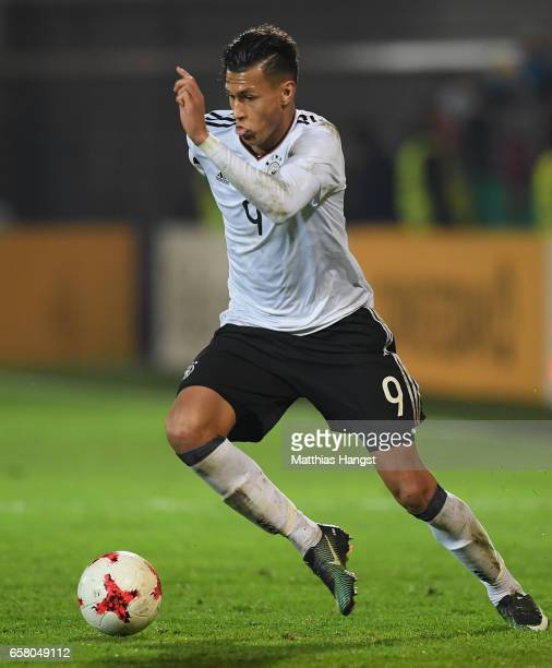 Davie Selke of Germany controls the ball during the U21 International Friendly match between U21 Germany and U21 England at BRITAArena on March 24...