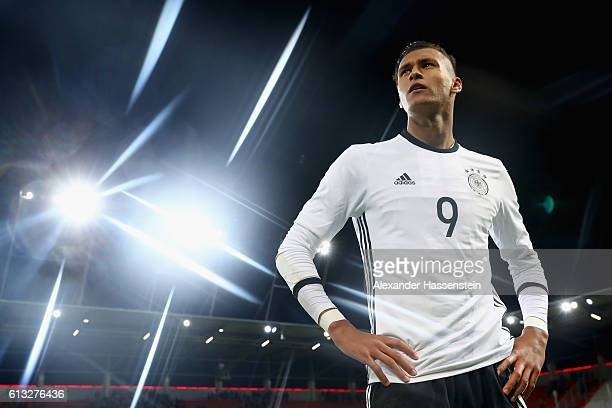 Davie Selke of Germany enters the field for the 2017 UEFA European U21 Championships Qualifier between Germany and Russia at Audi Sportpark on...