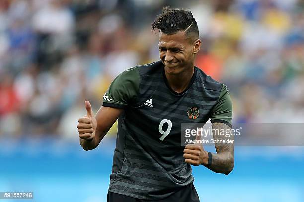 Davie Selke of Germany gestures during the Men's Semifinal Football match between Nigeria and Germany on Day 12 of the Rio 2016 Olympic Games at...