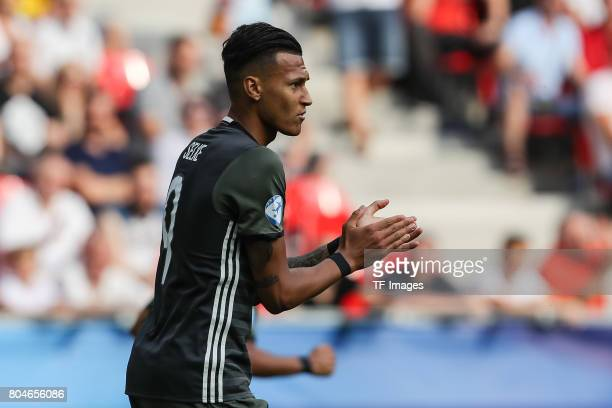 Davie Selke of Germany gestures during the UEFA European Under21 Championship Semi Final match between England and Germany at Tychy Stadium on June...