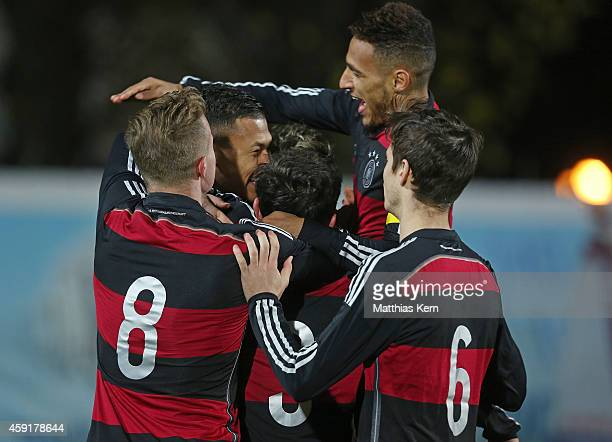 Davie Selke of Germany jubilates with team mates after scoring the first goal during the U20 international friendly match between Germany and Poland...