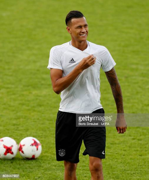Davie Selke of Germany leaves the pitch ahead of time during the MD1 training session of the U21 national team of Germany at Krakow stadium on June...