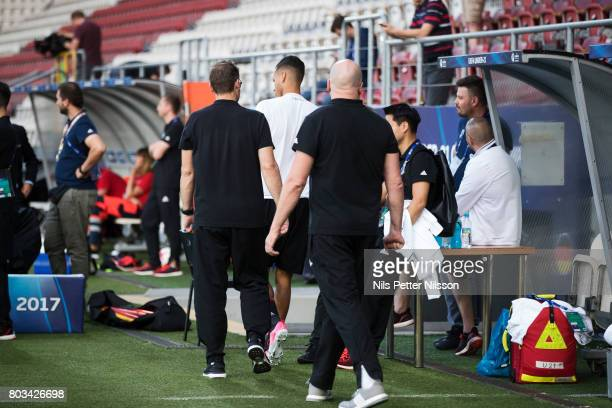 Davie Selke of Germany leaves the pitch during the Germany U21 national team training at Krakow Stadium on June 29 2017 in Krakow Poland