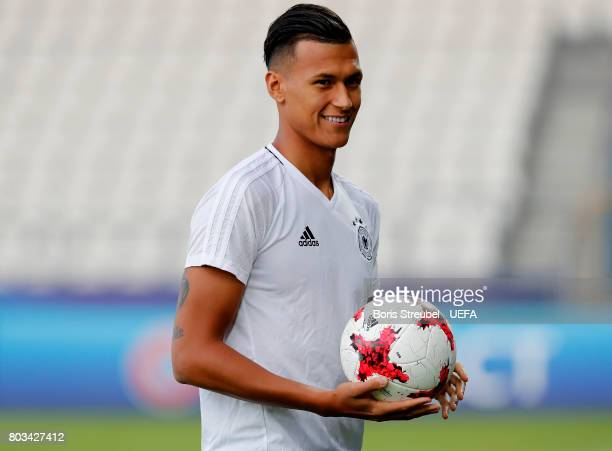 Davie Selke of Germany looks on during the MD1 training session of the U21 national team of Germany at Krakow stadium on June 29 2017 in Krakow Poland
