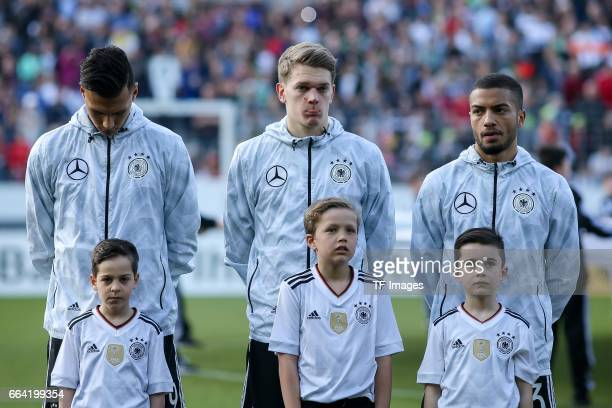 Davie Selke of Germany Matthias Ginter of Germany Jeremy Toljan of Germany looks on during the International Friendly match between Germany U21 and...