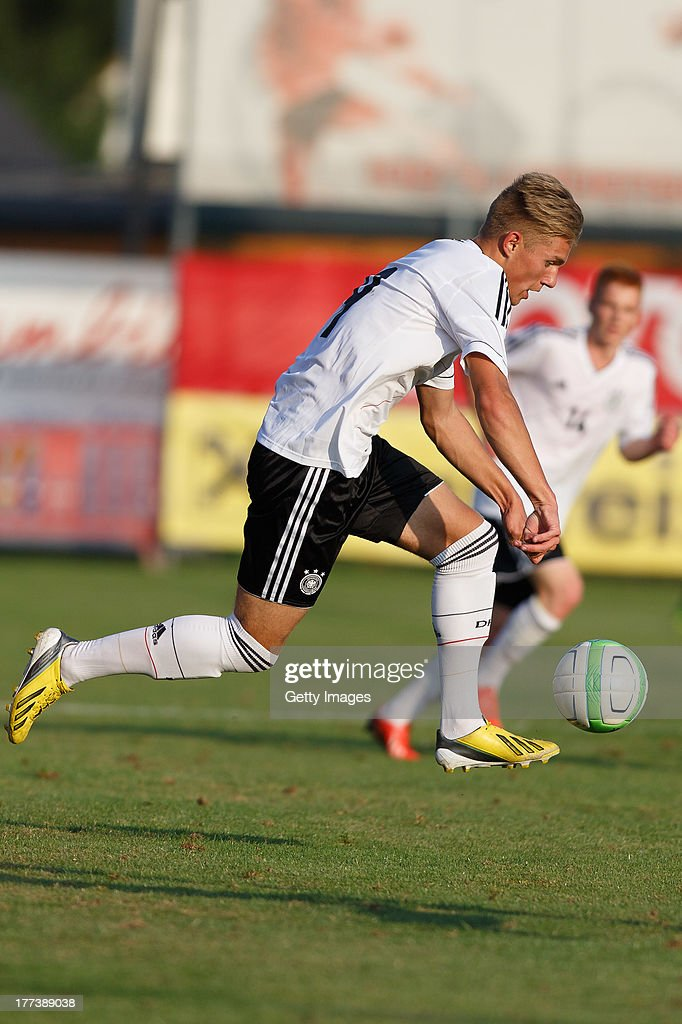 Davie Selke of Germany plays the ball during the U17 Toto-Cup match between Germany and Belgium on August 21, 2013 in Gleisdorf, Austria.