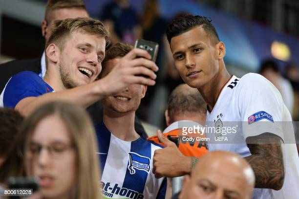 Davie Selke of Germany poses for a selfie with fans after their UEFA European Under21 Championship 2017 match against Italy on June 24 2017 in Krakow...