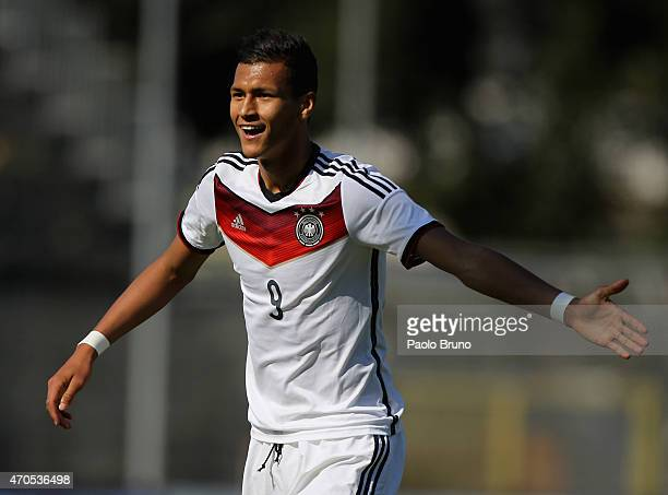 Davie Selke of Germany reacts during the 4 Nations Tournament match between Italy U20 and Germany U20 at Stadio Matusa on April 21 2015 in Frosinone...