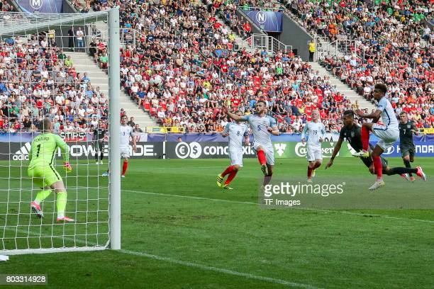 Davie Selke of Germany scores his first goal during the UEFA European Under21 Championship Semi Final match between England and Germany at Tychy...