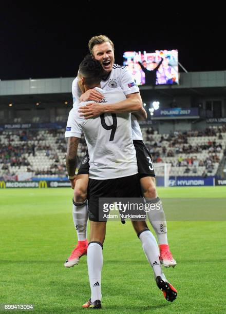 Davie Selke of Germny celebrates scoring his sides first goal with Yannick Gerhardt of Germany during the UEFA European Under21 Championship Group C...