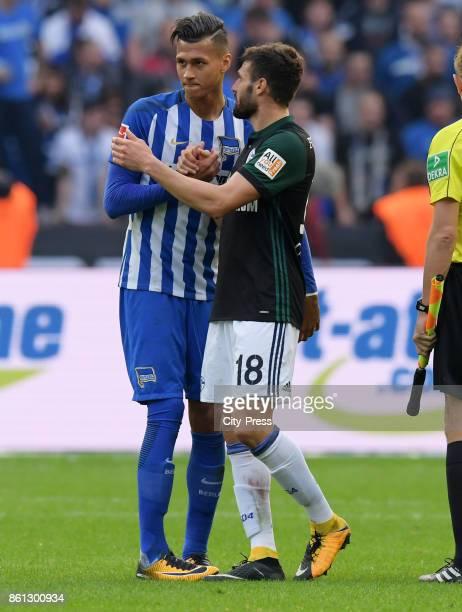 Davie Selke of Hertha BSC and Daniel Caligiuri of FC Schalke 04 after the game between Hertha BSC and Schalke 04 on october 14 2017 in Berlin Germany