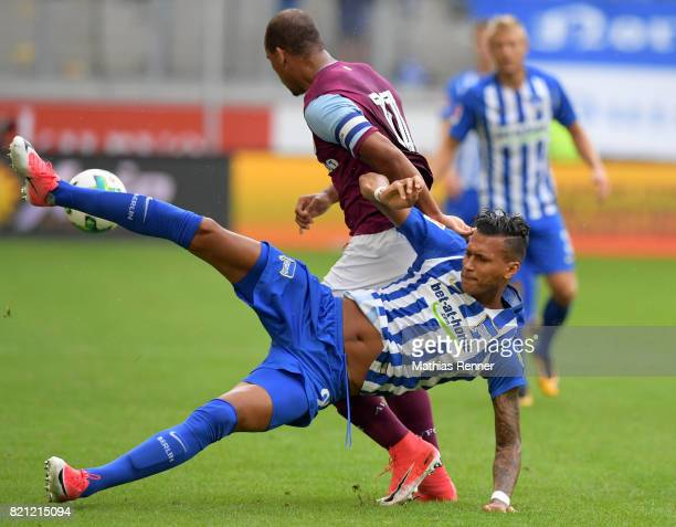 Davie Selke of Hertha BSC and Gabriel Agbonlahor of Aston Villa during the game between Aston Villa and Hertha BSC on july 23 2017 in Duisburg Germany