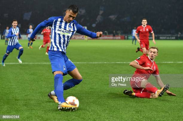 Davie Selke of Hertha BSC and Oleksandr Karavaev of FC Zorya Luhansk during the game between Hertha BSC and Zorya Luhansk on November 2 2017 in...
