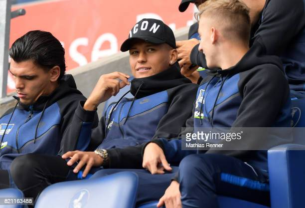 Davie Selke of Hertha BSC before the game between Aston Villa and the MSV Duisburg on July 23 2017 in Duisburg Germany