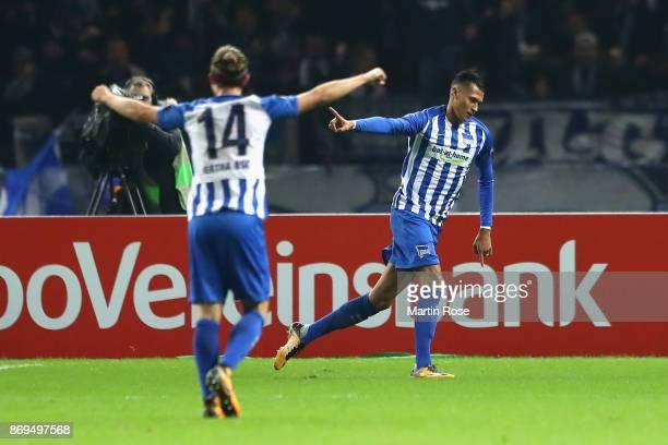 Davie Selke of Hertha BSC Berlin celebrates scoring his sides first goal during the UEFA Europa League group J match between Hertha BSC and Zorya...