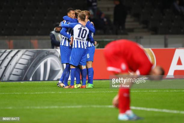 Davie Selke of Hertha BSC Berlin celebrates with team mates after scoring his sides second goal during the UEFA Europa League group J match between...