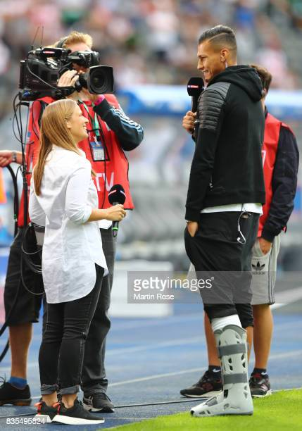 Davie Selke of Hertha BSC Berlin during an interview during the Bundesliga match between Hertha BSC and VfB Stuttgart at Olympiastadion on August 19...