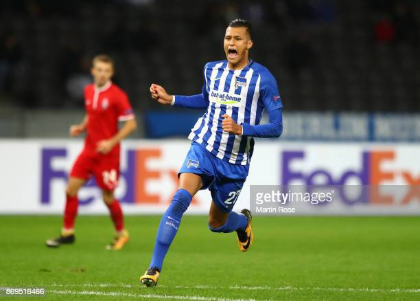 Davie Selke of Hertha BSC Berlin reacts during the UEFA Europa League group J match between Hertha BSC and Zorya Lugansk at Olympiastadion on...