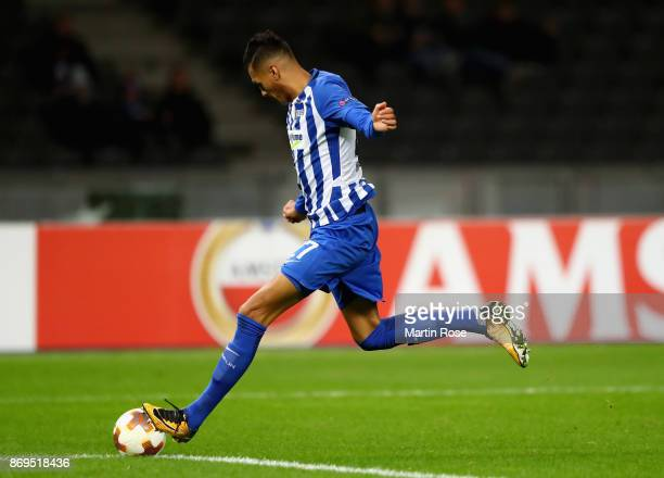 Davie Selke of Hertha BSC Berlin scores his sides second goal during the UEFA Europa League group J match between Hertha BSC and Zorya Lugansk at...