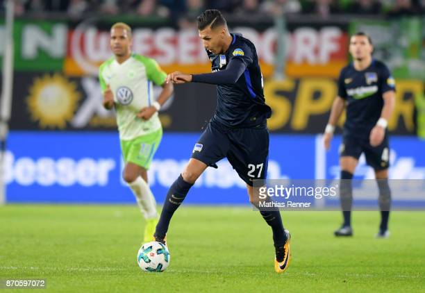 Davie Selke of Hertha BSC during the game between VfL Wolfsburg and Hertha BSC on november 5 2017 in Wolfsburg Germany