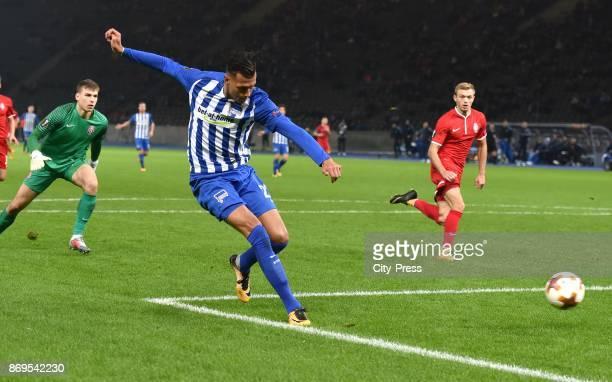 Davie Selke of Hertha BSC goals to 20 during the game between Hertha BSC and Zorya Luhansk on November 2 2017 in Berlin Germany