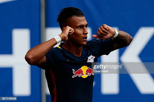 Davie Selke of Leipzig celebrates after scoring their first goal during the Bundesliga match between Hamburger SV and RB Leipzig at Volksparkstadion...