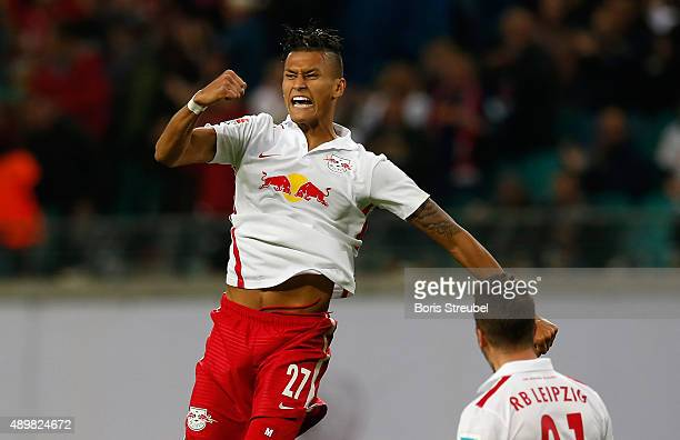 Davie Selke of Leipzig celebrates his team's first goal with team mate Diego Demme during the Second Bundesliga match between RB Leipzig and SC...