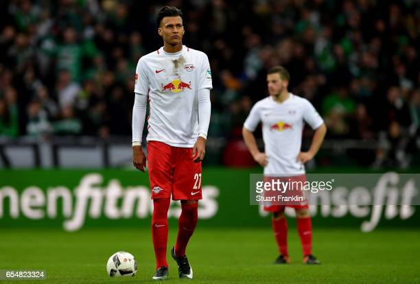 Davie Selke of Leipzig reacts during the Bundesliga match between Werder Bremen and RB Leipzig at Weserstadion on March 18 2017 in Bremen Germany